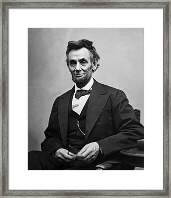 Framed Print featuring the photograph Portrait Of President Abraham Lincoln by International  Images