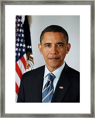 portrait of President Barack Obama Framed Print by MotionAge Designs