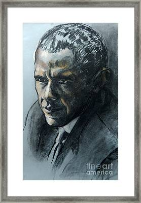 Charcoal Portrait Of President Obama Framed Print
