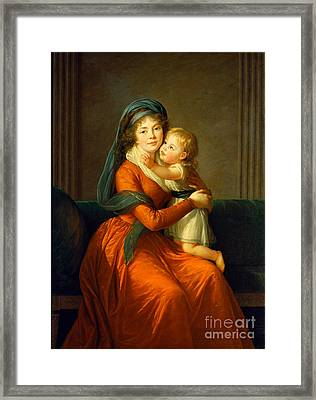 Portrait Of Princess Alexandra Golitsyna And Her Son Piotr Framed Print