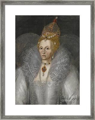 Portrait Of Queen Elizabeth Framed Print by MotionAge Designs