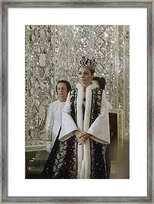 Portrait Of Queen Farah Pahlavi Dressed Framed Print by James L Stanfield