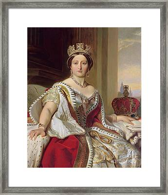 Portrait Of Queen Victoria Framed Print by Franz Xavier Winterhalter