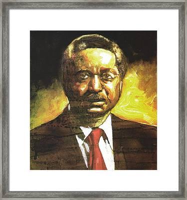 Portrait Of Rev. Leon Sullivan Framed Print by Michael Facey