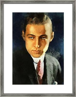 Portrait Of Rudolph Valentino Framed Print
