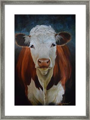 Portrait Of Sally The Cow Framed Print