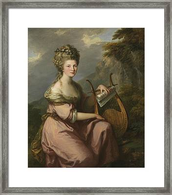 Portrait Of Sarah Harrop As A Muse Framed Print by Angelica Kauffman