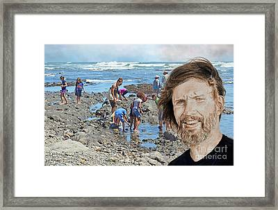 Portrait Of Singer, Songwriter, Musician And Actor Kris Kristofferson At The Beach Framed Print by Jim Fitzpatrick