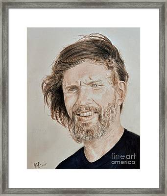 Portrait Of Singer, Songwriter, Musician And Actor Kris Kristofferson Framed Print by Jim Fitzpatrick