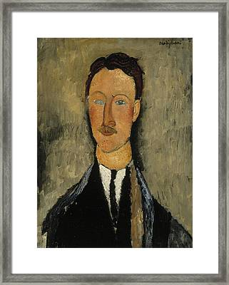 Portrait Of The Artist Leopold Survage Framed Print by Amedeo Modigliani
