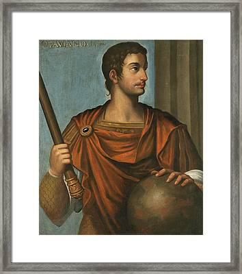 Portrait Of The Emperor Augustus Half Length Holding A Baton And Resting His Hand On A Globe Framed Print by Follower of Bernardino Campi