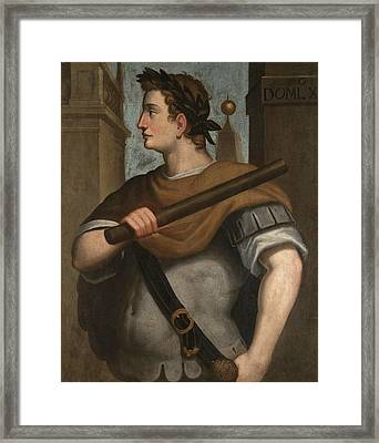 Portrait Of The Emperor Domitian Half Length Wearing A Laurel Wreath And Holding A Baton Framed Print by Follower of Bernardino Campi