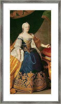 Portrait Of The Empress Maria Theresa Of Austria Framed Print by Martin Mytens or Meytens