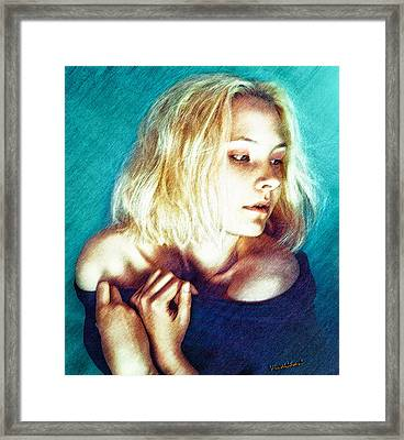 Portrait Of The Girl Who Is Painfully Shy Framed Print by Chas Sinklier