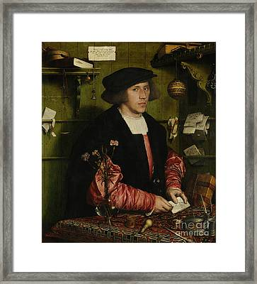Portrait Of The Merchant George Gisze Framed Print by Hans Holbein