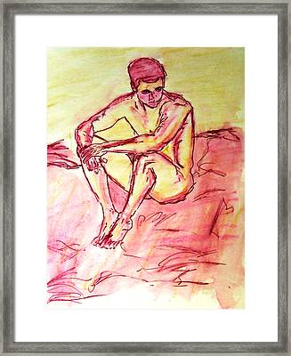 Portrait Of Thinking Young Male Seated Figure Nude Watercolor Painting In Purple Yellow Sketchy Framed Print