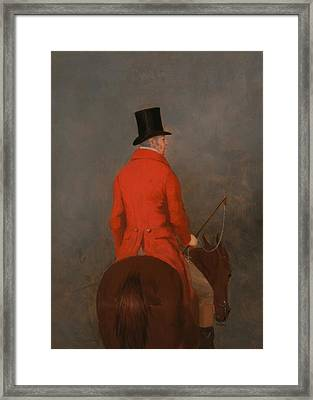 Portrait Of Thomas Cholmondeley - 1st Lord Delamare On His Hunter  Framed Print by Mountain Dreams