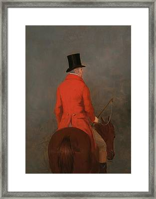 Portrait Of Thomas Cholmondeley 1st Lord Of Delamere On His Hunter Framed Print by Henry Calvert