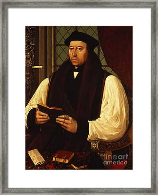 Portrait Of Thomas Cranmer Framed Print by Gerlach Flicke