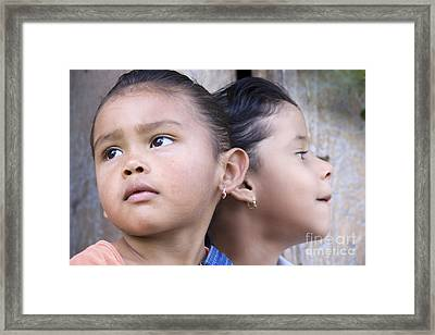 Framed Print featuring the photograph Portrait Of Two Panama Girls by Heiko Koehrer-Wagner