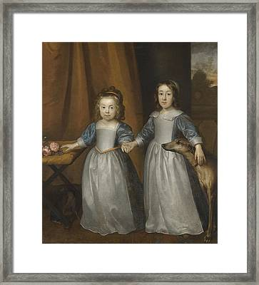 Portrait Of Two Young Girls On A Terrace With Two Hounds Framed Print