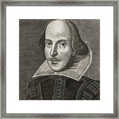 Portrait Of William Shakespeare Framed Print by Martin the elder Droeshout