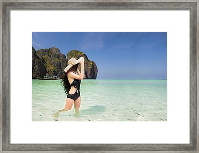 Portrait Of Woman In Black Swim Posing On Tropical Beach Framed Print by Anek Suwannaphoom