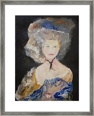 Portrait Of Woman In Blue Framed Print by Edward Wolverton