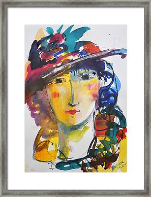 Portrait Of Woman With Flower Hat Framed Print