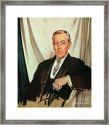 Portrait Of Woodrow Wilson Framed Print by Sir William Orpen
