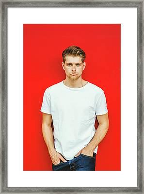 Portrait Of Young Handsome Man Framed Print