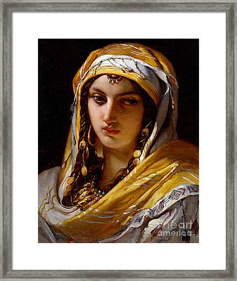 Portrait Of Young Oriental Woman Framed Print by Jean-Francois Portaels