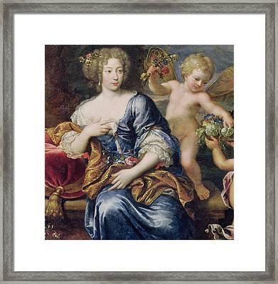 Portrait Presumed To Be Francoise-athenais De Rochechouart De Mortemart Framed Print by Pierre Mignard