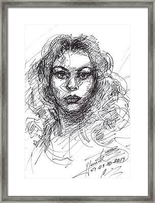 Portrait Sketch  Framed Print by Ylli Haruni