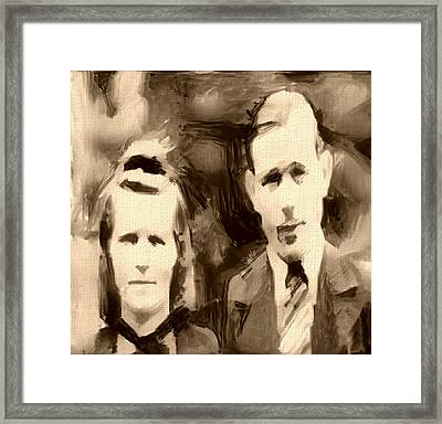 Portrait Underpainting In Umber And Browns Old Couple Framed Print by MendyZ