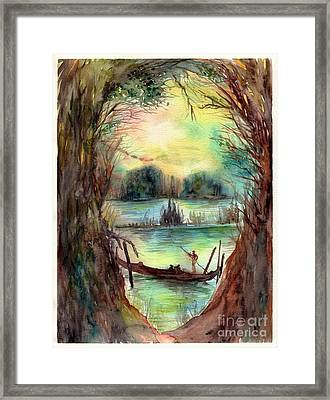 Portrait With A Boat Framed Print