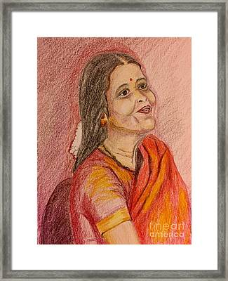 Portrait With Colorpencils Framed Print