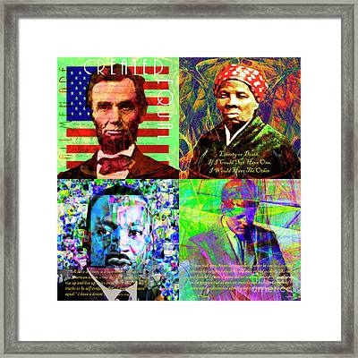 Portraits Of Freedom And Equality In America Abraham Lincoln Harriet Tubman Martin Luther King Jfk Framed Print