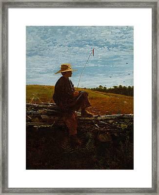 Portrays A Boy Watching Framed Print