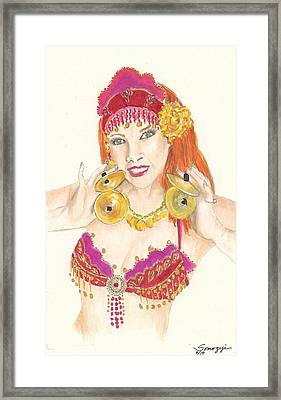 Portrait Of The Artist Playing Zills -- Belly Dancer Self-portrait Framed Print