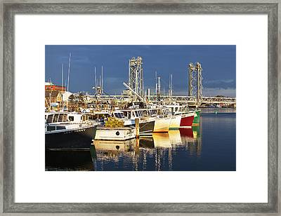 Portsmouth Fishing Boats At Sunrise Framed Print by Eric Gendron