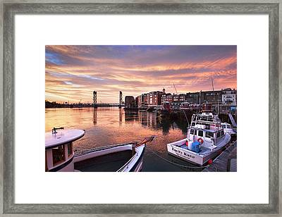 Portsmouth Harbor Brilliant Sunrise Framed Print by Eric Gendron