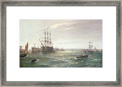 Portsmouth Harbour With Hms Victory Framed Print by Robert Ernest Roe