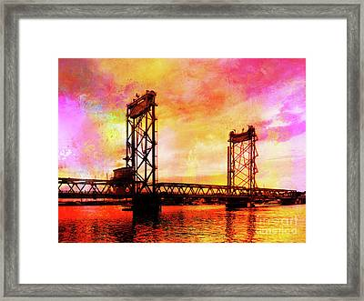 Portsmouth Memorial Bridge Abstract At Sunset Framed Print