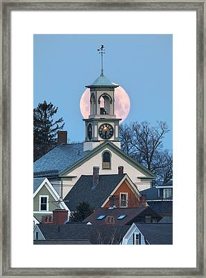 Portsmouth Moon And Steeple Framed Print