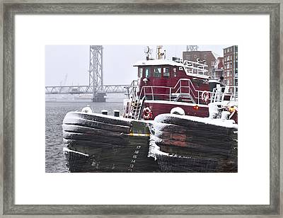 Portsmouth Tugs In A Blizzard Framed Print by Eric Gendron
