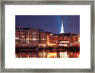 Portsmouth Waterfront At Night Framed Print by Eric Gendron
