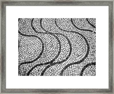 Portuguese Pavement Patterns In Cascais Framed Print