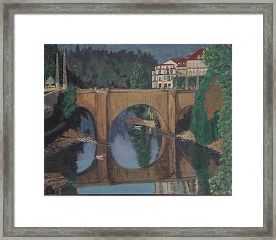 Framed Print featuring the painting Portuguese River Bridge by Hilda and Jose Garrancho