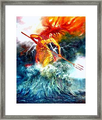 Framed Print featuring the painting Poseidon by Henryk Gorecki